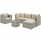 Modway Repose 6 Piece Outdoor Patio Sectional Set in Light Gray Beige MY-EEI-3014-LGR-BEI-SET