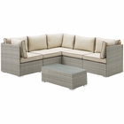 Modway Repose 6 Piece Outdoor Patio Sectional Set in Light Gray Beige MY-EEI-3016-LGR-BEI-SET