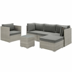 Modway Repose 6 Piece Outdoor Patio Sectional Set in Light Gray Charcoal MY-EEI-3014-LGR-CHA-SET