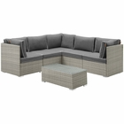 Modway Repose 6 Piece Outdoor Patio Sectional Set in Light Gray Charcoal MY-EEI-3016-LGR-CHA-SET