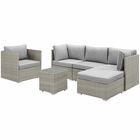 Modway Repose 6 Piece Outdoor Patio Sectional Set in Light Gray Gray MY-EEI-3014-LGR-GRY-SET