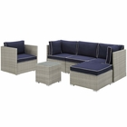 Modway Repose 6 Piece Outdoor Patio Sectional Set in Light Gray Navy MY-EEI-3014-LGR-NAV-SET