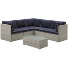 Modway Repose 6 Piece Outdoor Patio Sectional Set in Light Gray Navy MY-EEI-3016-LGR-NAV-SET