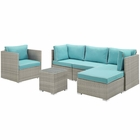 Modway Repose 6 Piece Outdoor Patio Sectional Set in Light Gray Turquoise MY-EEI-3014-LGR-TRQ-SET