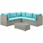 Modway Repose 6 Piece Outdoor Patio Sectional Set in Light Gray Turquoise MY-EEI-3016-LGR-TRQ-SET