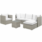 Modway Repose 6 Piece Outdoor Patio Sectional Set in Light Gray White MY-EEI-3014-LGR-WHI-SET