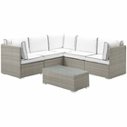 Modway Repose 6 Piece Outdoor Patio Sectional Set in Light Gray White MY-EEI-3016-LGR-WHI-SET