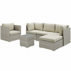Modway Repose 6 Piece Outdoor Patio Sunbrella® Sectional Set in Light Gray Beige MY-EEI-3015-LGR-BEI-SET