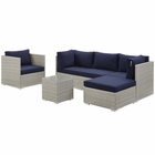 Modway Repose 6 Piece Outdoor Patio Sunbrella® Sectional Set in Light Gray Navy MY-EEI-3015-LGR-NAV-SET