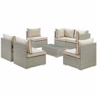 Modway Repose 7 Piece Outdoor Patio Sectional Set in Light Gray Beige MY-EEI-3004-LGR-BEI-SET