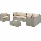 Modway Repose 7 Piece Outdoor Patio Sectional Set in Light Gray Beige MY-EEI-3010-LGR-BEI-SET