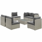 Modway Repose 7 Piece Outdoor Patio Sectional Set in Light Gray Charcoal MY-EEI-3004-LGR-CHA-SET