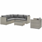 Modway Repose 7 Piece Outdoor Patio Sectional Set in Light Gray Charcoal MY-EEI-3010-LGR-CHA-SET