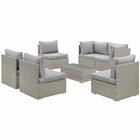 Modway Repose 7 Piece Outdoor Patio Sectional Set in Light Gray Gray MY-EEI-3004-LGR-GRY-SET
