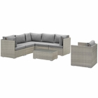 Modway Repose 7 Piece Outdoor Patio Sectional Set in Light Gray Gray MY-EEI-3010-LGR-GRY-SET