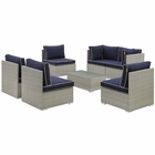 Modway Repose 7 Piece Outdoor Patio Sectional Set in Light Gray Navy MY-EEI-3004-LGR-NAV-SET