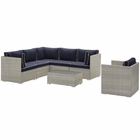 Modway Repose 7 Piece Outdoor Patio Sectional Set in Light Gray Navy MY-EEI-3010-LGR-NAV-SET