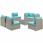 Modway Repose 7 Piece Outdoor Patio Sectional Set in Light Gray Turquoise MY-EEI-3004-LGR-TRQ-SET