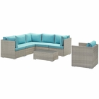 Modway Repose 7 Piece Outdoor Patio Sectional Set in Light Gray Turquoise MY-EEI-3010-LGR-TRQ-SET