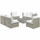 Modway Repose 7 Piece Outdoor Patio Sectional Set in Light Gray White MY-EEI-3004-LGR-WHI-SET