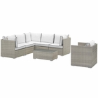 Modway Repose 7 Piece Outdoor Patio Sectional Set in Light Gray White MY-EEI-3010-LGR-WHI-SET