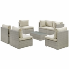 Modway Repose 7 Piece Outdoor Patio Sunbrella® Sectional Set in Light Gray Beige MY-EEI-3005-LGR-BEI-SET