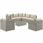 Modway Repose 8 Piece Outdoor Patio Sectional Set in Light Gray Beige MY-EEI-3008-LGR-BEI-SET