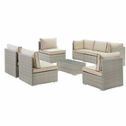Modway Repose 8 Piece Outdoor Patio Sectional Set in Light Gray Beige MY-EEI-3012-LGR-BEI-SET