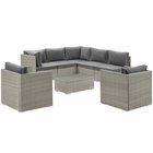 Modway Repose 8 Piece Outdoor Patio Sectional Set in Light Gray Charcoal MY-EEI-3008-LGR-CHA-SET