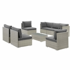 Modway Repose 8 Piece Outdoor Patio Sectional Set in Light Gray Charcoal MY-EEI-3012-LGR-CHA-SET