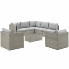 Modway Repose 8 Piece Outdoor Patio Sectional Set in Light Gray Gray MY-EEI-3008-LGR-GRY-SET
