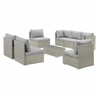 Modway Repose 8 Piece Outdoor Patio Sectional Set in Light Gray Gray MY-EEI-3012-LGR-GRY-SET
