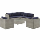 Modway Repose 8 Piece Outdoor Patio Sectional Set in Light Gray Navy MY-EEI-3008-LGR-NAV-SET