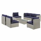 Modway Repose 8 Piece Outdoor Patio Sectional Set in Light Gray Navy MY-EEI-3012-LGR-NAV-SET