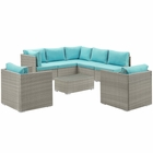 Modway Repose 8 Piece Outdoor Patio Sectional Set in Light Gray Turquoise MY-EEI-3008-LGR-TRQ-SET