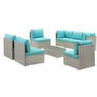 Modway Repose 8 Piece Outdoor Patio Sectional Set in Light Gray Turquoise MY-EEI-3012-LGR-TRQ-SET
