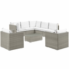 Modway Repose 8 Piece Outdoor Patio Sectional Set in Light Gray White MY-EEI-3008-LGR-WHI-SET