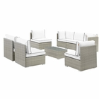 Modway Repose 8 Piece Outdoor Patio Sectional Set in Light Gray White MY-EEI-3012-LGR-WHI-SET