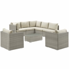 Modway Repose 8 Piece Outdoor Patio Sunbrella® Sectional Set in Light Gray Beige MY-EEI-3009-LGR-BEI-SET