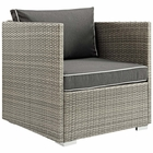 Modway Repose Outdoor Patio Wicker Rattan Armchair in Light Gray Charcoal MY-EEI-2960-LGR-CHA
