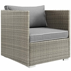 Modway Repose Outdoor Patio Wicker Rattan Armchair in Light Gray Gray MY-EEI-2960-LGR-GRY