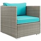 Modway Repose Outdoor Patio Wicker Rattan Armchair in Light Gray Turquoise MY-EEI-2960-LGR-TRQ