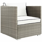 Modway Repose Outdoor Patio Wicker Rattan Armchair in Light Gray White MY-EEI-2960-LGR-WHI