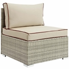 Modway Repose Outdoor Patio Wicker Rattan Armless Chair in Light Gray Beige MY-EEI-2958-LGR-BEI