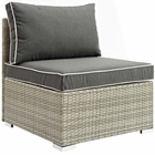 Modway Repose Outdoor Patio Wicker Rattan Armless Chair in Light Gray Charcoal MY-EEI-2958-LGR-CHA