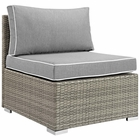 Modway Repose Outdoor Patio Wicker Rattan Armless Chair in Light Gray Gray MY-EEI-2958-LGR-GRY