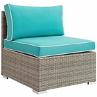 Modway Repose Outdoor Patio Wicker Rattan Armless Chair in Light Gray Turquoise MY-EEI-2958-LGR-TRQ