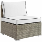 Modway Repose Outdoor Patio Wicker Rattan Armless Chair in Light Gray White MY-EEI-2958-LGR-WHI