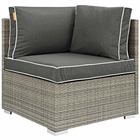 Modway Repose Outdoor Patio Wicker Rattan Corner in Light Gray Charcoal MY-EEI-2956-LGR-CHA