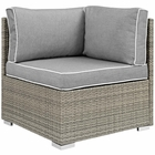 Modway Repose Outdoor Patio Wicker Rattan Corner in Light Gray Gray MY-EEI-2956-LGR-GRY